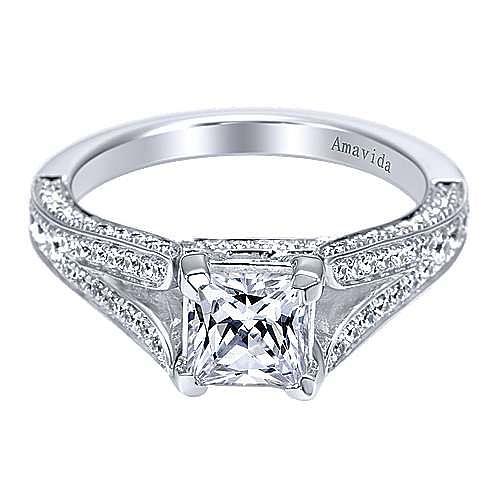 18k White Gold Princess Cut Split Shank Engagement Ring angle 1