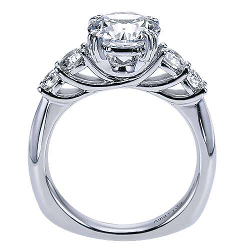 18k White Gold Round 3 Stones Engagement Ring angle 2