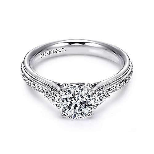 18k White Gold Round 3 Stones Engagement Ring angle 1