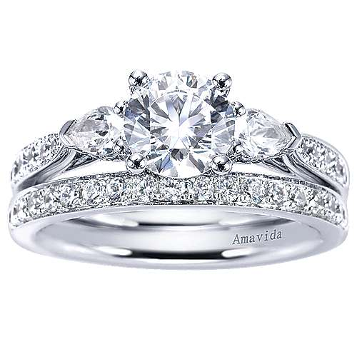 18k White Gold Round 3 Stones Engagement Ring angle 4