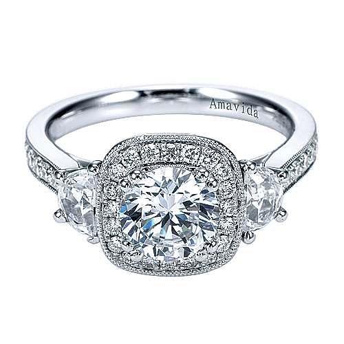 Gabriel - 18k White Gold Round 3 Stones Halo Engagement Ring