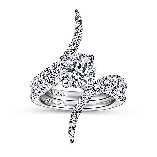 18k White Gold Round Bypass Engagement Ring angle 4