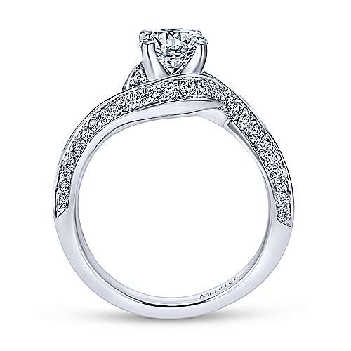 18k White Gold Round Bypass Engagement Ring angle 2