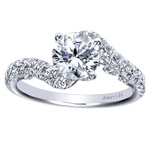 18k White Gold Round Bypass Engagement Ring angle 5