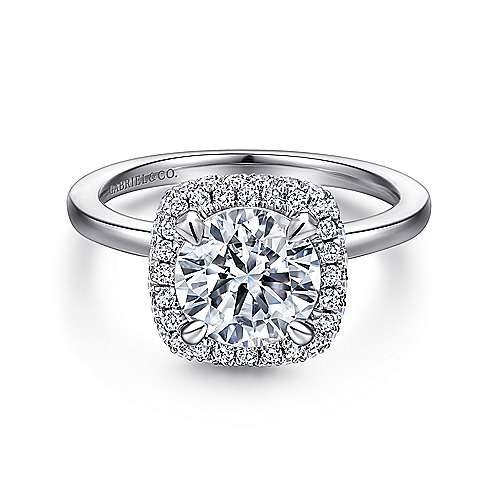 Gabriel - 18k White Gold Round Double Halo Engagement Ring
