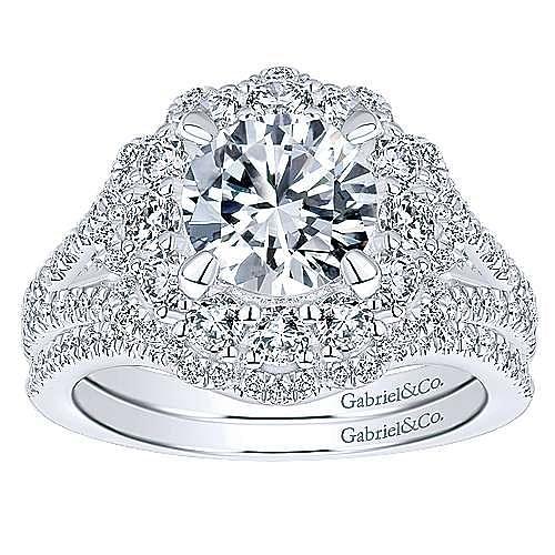 18k White Gold Round Double Halo Engagement Ring angle 4