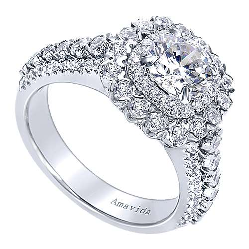 18k White Gold Round Double Halo Engagement Ring angle 3