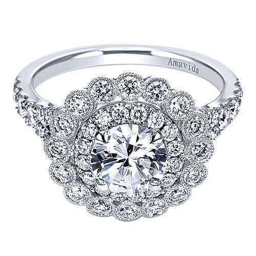 18k White Gold Round Double Halo Engagement Ring angle 1