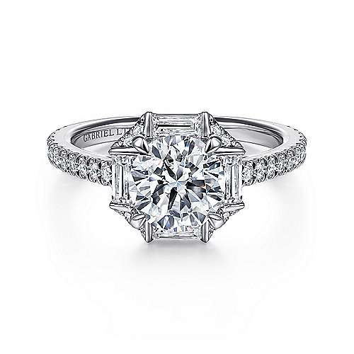 18k White Gold Round Halo Engagement Ring ~ Ryland