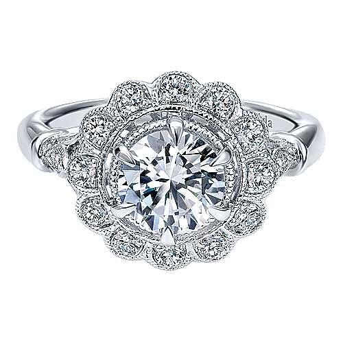 Gabriel - 18k White Gold Round Halo Engagement Ring