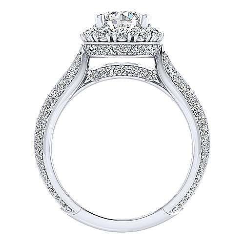 18k White Gold Round Halo Engagement Ring angle 2
