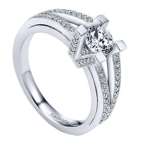 18k White Gold Round Halo Engagement Ring angle 3