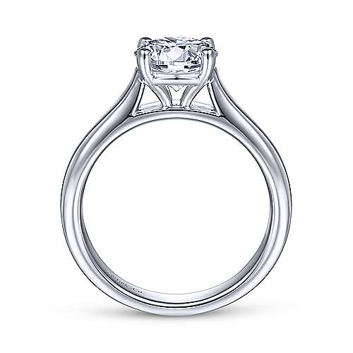 18k White Gold Round Solitaire Engagement Ring angle 2