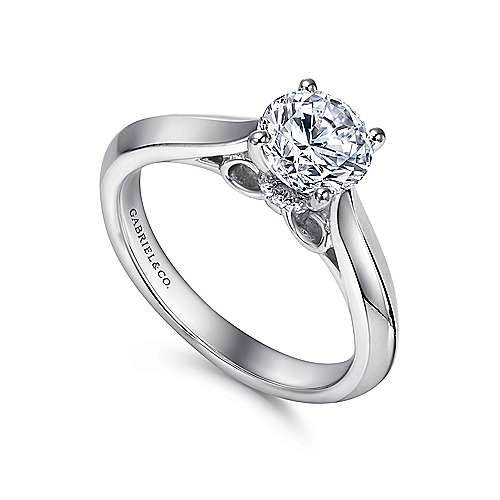 18k White Gold Round Solitaire Engagement Ring angle 3