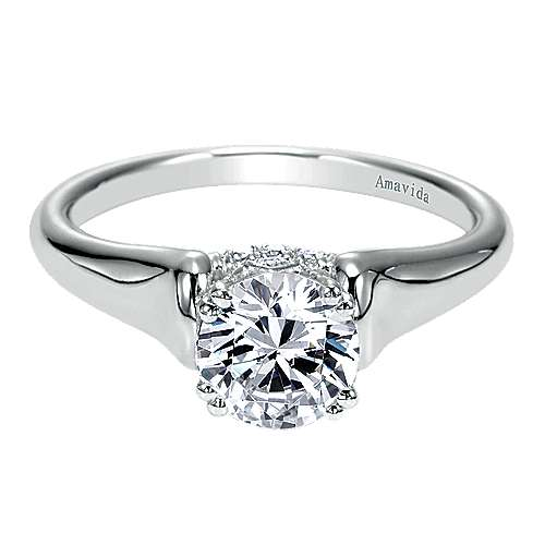 18k White Gold Round Solitaire Engagement Ring angle 1