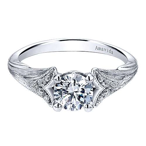 18k White Gold Round Split Shank Engagement Ring angle 1