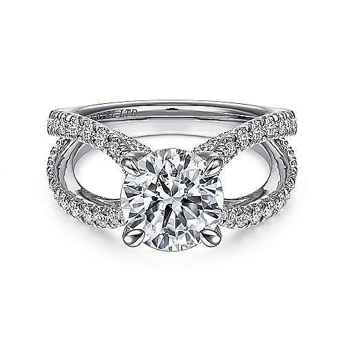 18k White Gold Round Split Shank Engagement Ring