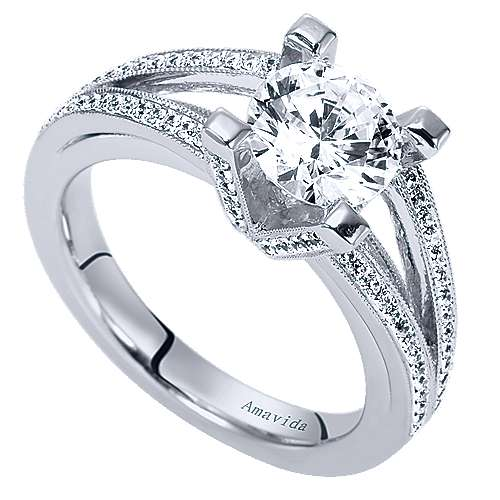 18k White Gold Round Split Shank Engagement Ring angle 3