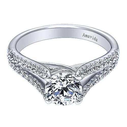 18k White Gold Round Split Shank Engagement Ring angle 1