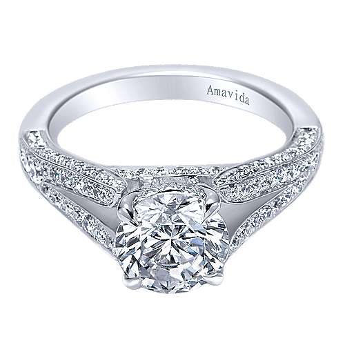 Gabriel - 18k White Gold Round Split Shank Engagement Ring