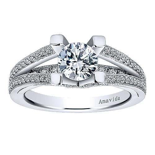18k White Gold Round Split Shank Engagement Ring angle 5