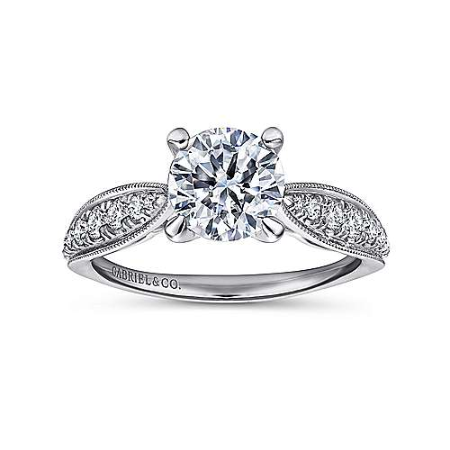 18k White Gold Round Straight Engagement Ring angle 5