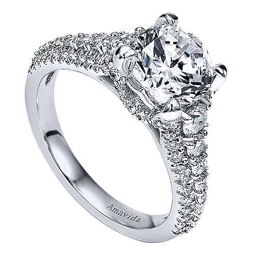 18k White Gold Round Straight Engagement Ring angle 3