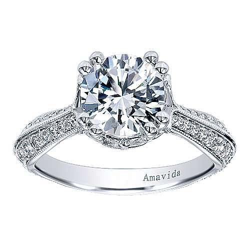 18k White Gold Round Straight Engagement Ring angle 5
