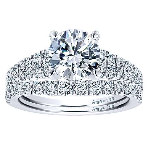 18k White Gold Round Straight Engagement Ring angle 4
