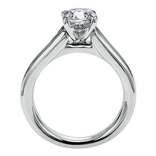18k White Gold Round Straight Engagement Ring angle 2