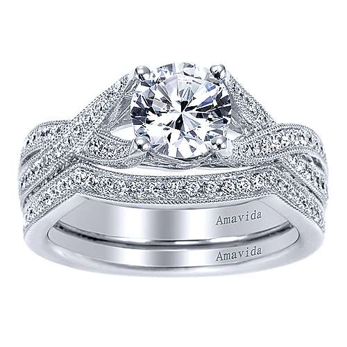 18k White Gold Round Twisted Engagement Ring angle 4