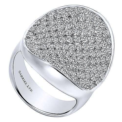 18k White Gold Silk Fashion Ladies' Ring angle 3