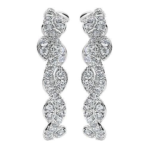 18k White Gold Silk Intricate Hoop Earrings angle 1