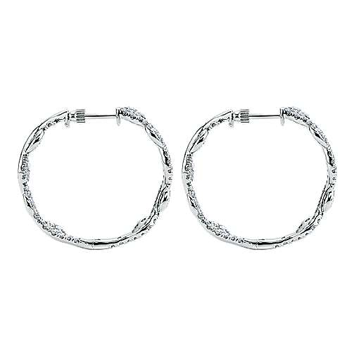 18k White Gold Silk Intricate Hoop Earrings angle 3