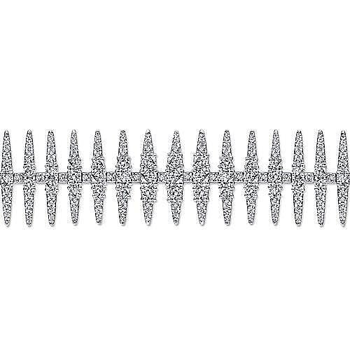 18k White Gold Spiked Diamond Tennis Bracelet