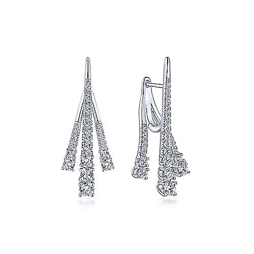 Gabriel - 18k White Gold Tapered Diamond Front Back Drop Earrings