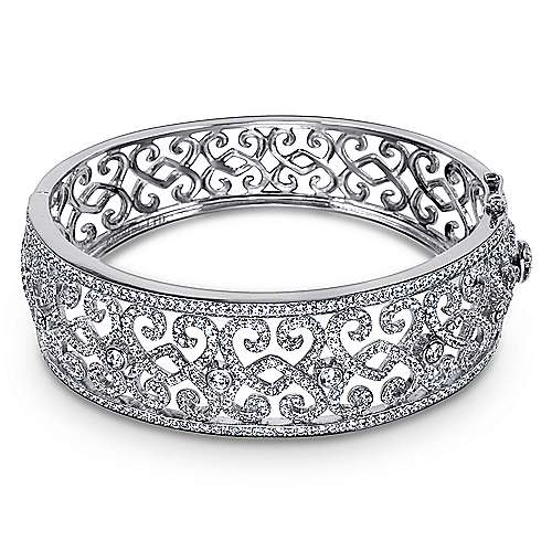 18k White Gold Victorian Bangle