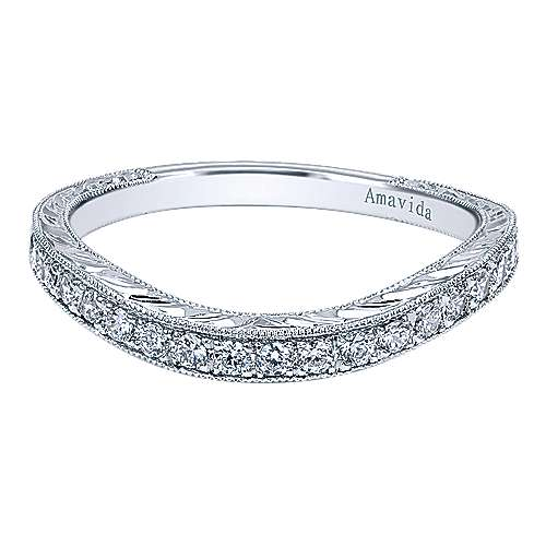 Gabriel - 18k White Gold Victorian Curved Wedding Band