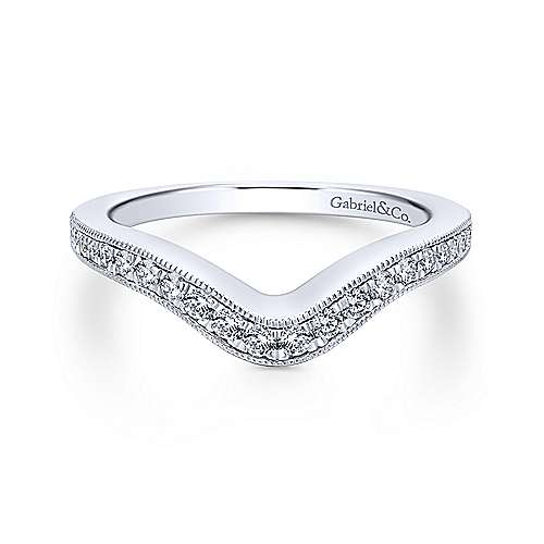 18k White Gold Victorian Curved Wedding Band angle 1