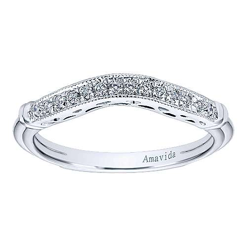 18k White Gold Victorian Curved Wedding Band angle 5