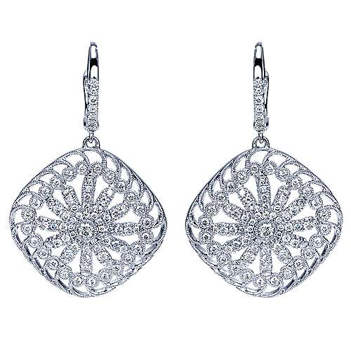 Gabriel - 18k White Gold Victorian Drop Earrings