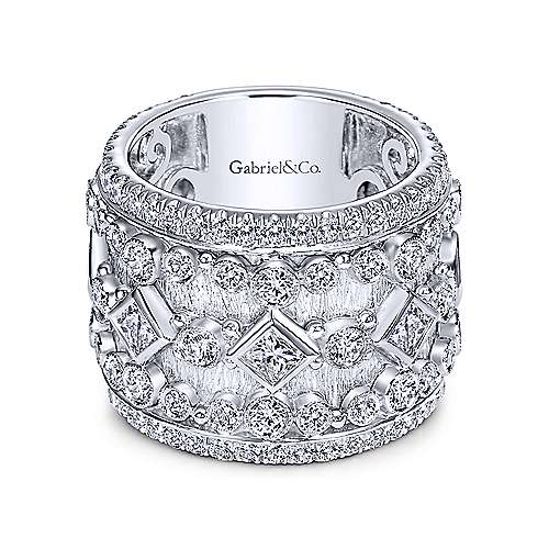 18k White Gold Victorian Fancy Anniversary Band angle 1