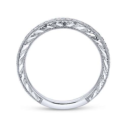 18k White Gold Victorian Straight Wedding Band angle 2