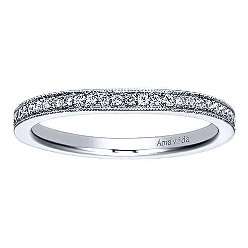 18k White Gold Victorian Straight Wedding Band angle 5