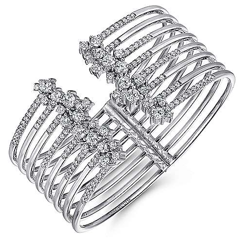 18k White Gold Waterfall Bangle angle 2