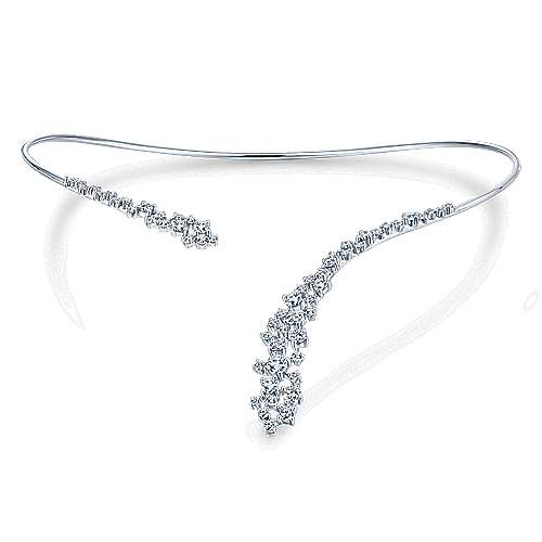 18k White Gold Waterfall Choker Necklace angle 3