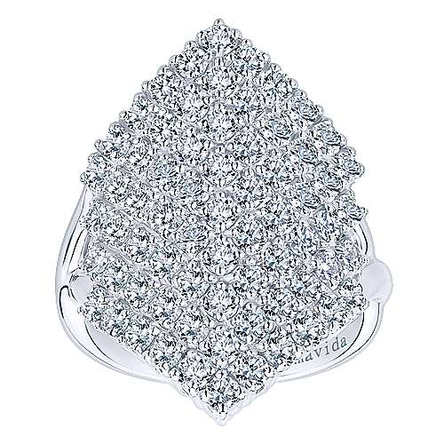 18k White Gold Waterfall Fashion Ladies' Ring angle 4