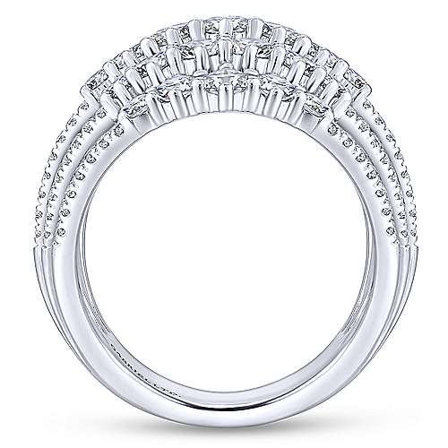 18k White Gold Waterfall Fashion Ladies' Ring angle 2