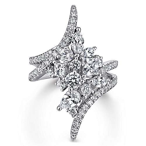 Gabriel - 18k White Gold Waterfall Fashion Ladies' Ring