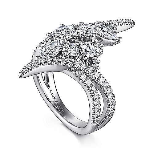 18k White Gold Waterfall Fashion Ladies Ring